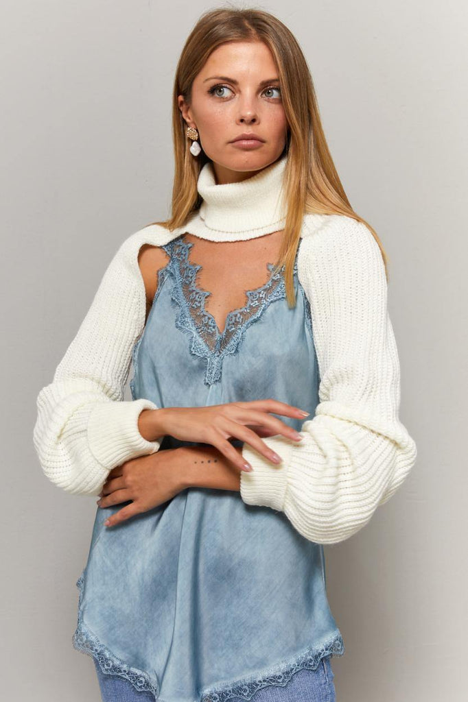 Women's Turtleneck Cut Out Ecru Tricot Blouse - Colorful Wings