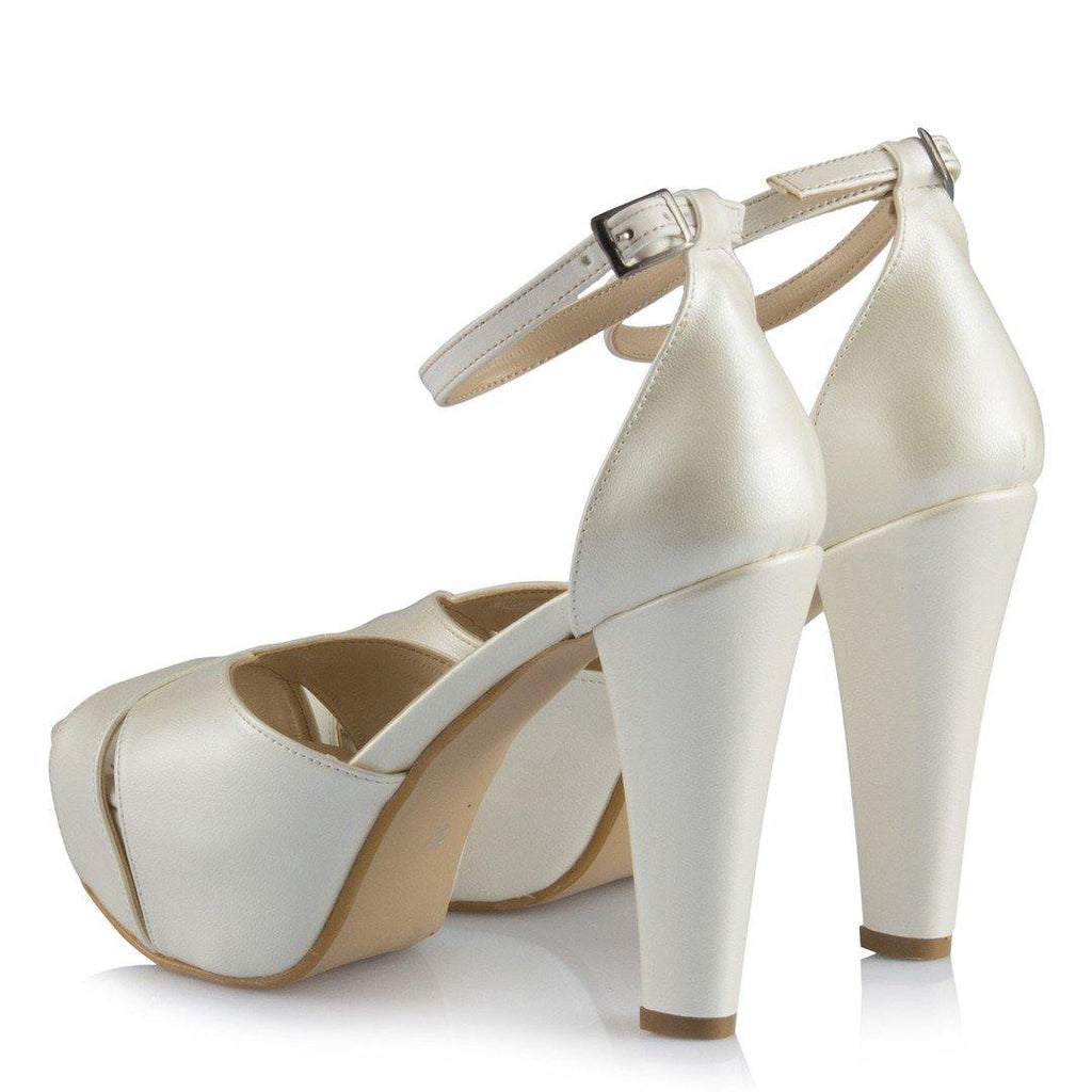 Women's Ankle Strap Off-White Bridal Heeled Shoes - Colorful Wings