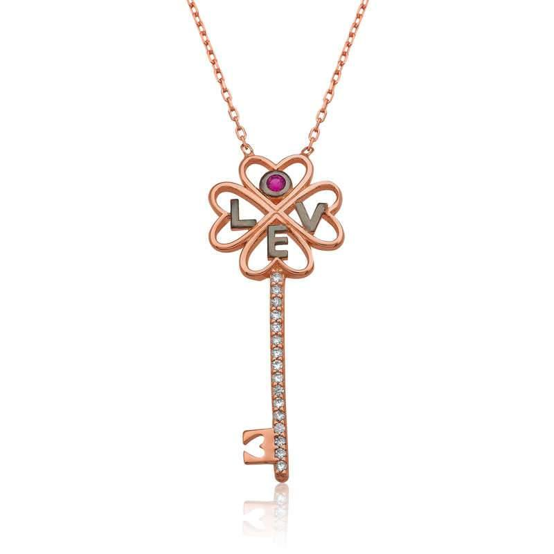 Women's Key Pendant Rose Plated Silver Necklace - Colorful Wings