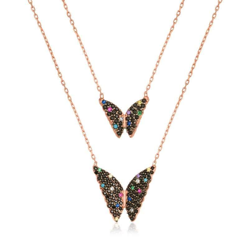 Women's Butterfly Pendant Rose Plated Silver Double Layers Necklace - Colorful Wings