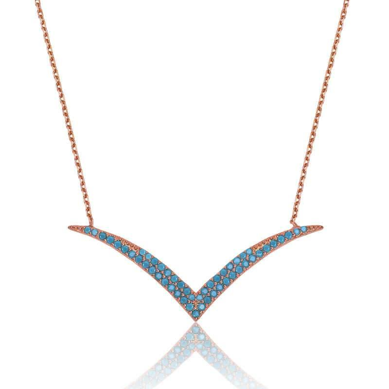 Women's Turquoise Gemmed Silver Necklace - Colorful Wings