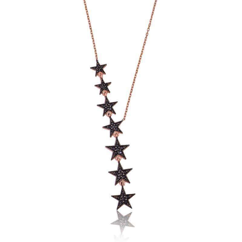 Women's Black Star Pendant Necklace - Colorful Wings