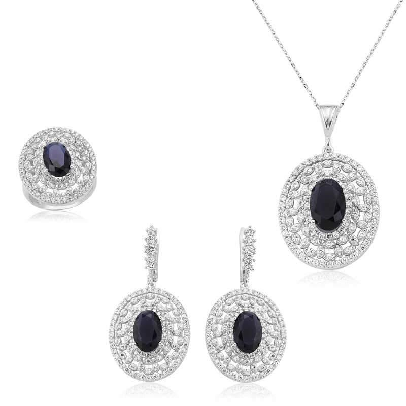 Women's Navy Blue Oval Gemmed Silver Necklace, Ring & Earrings Set - Colorful Wings
