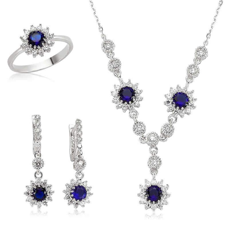 Women's Navy Blue Gemmed Silver Necklace, Ring & Earrings Set - Colorful Wings