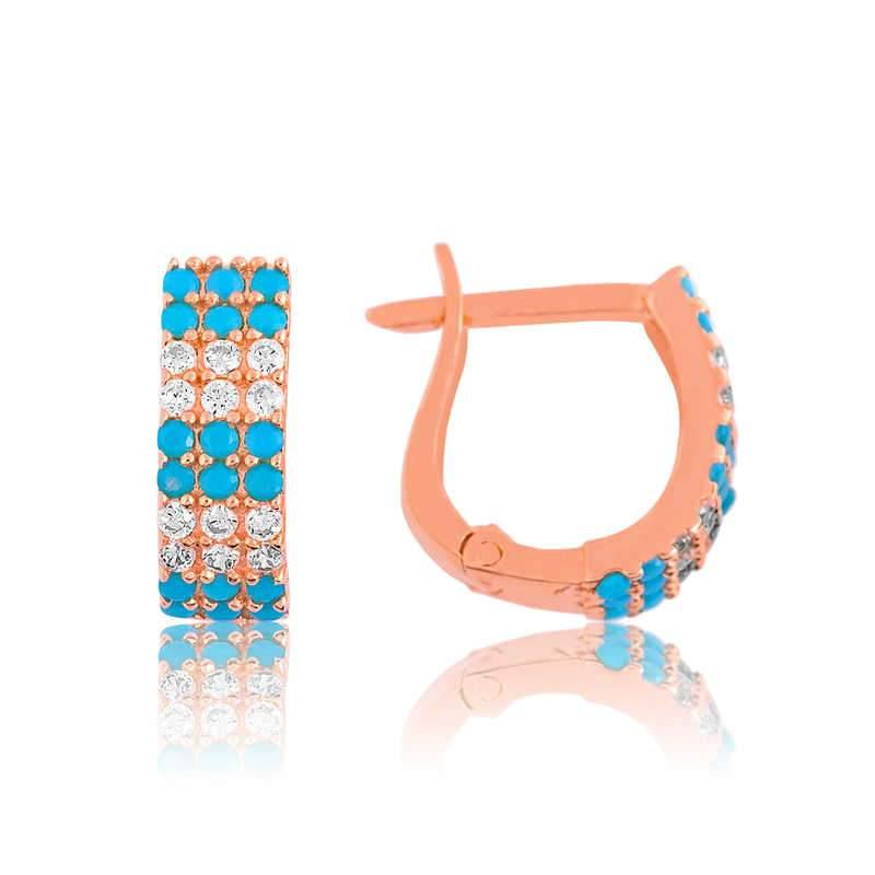 Women's Blue Gemmed Earrings - Colorful Wings