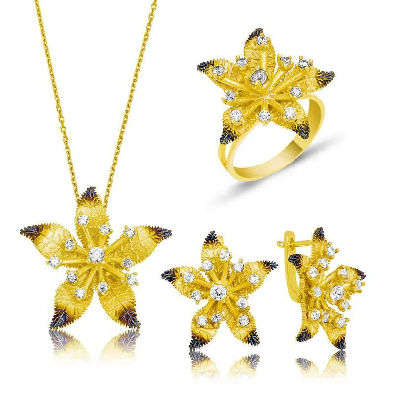 Women's Yellow Floral Pendant Necklace, Ring & Earrings Set - Colorful Wings