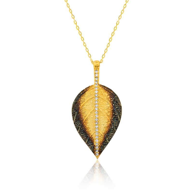 Women's Leaf Pendant Necklace - Colorful Wings