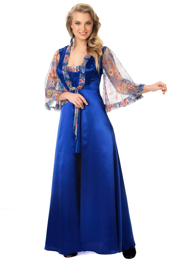 Women's Floral Pattern Blue Morning Robe & Nightgown Set - Colorful Wings