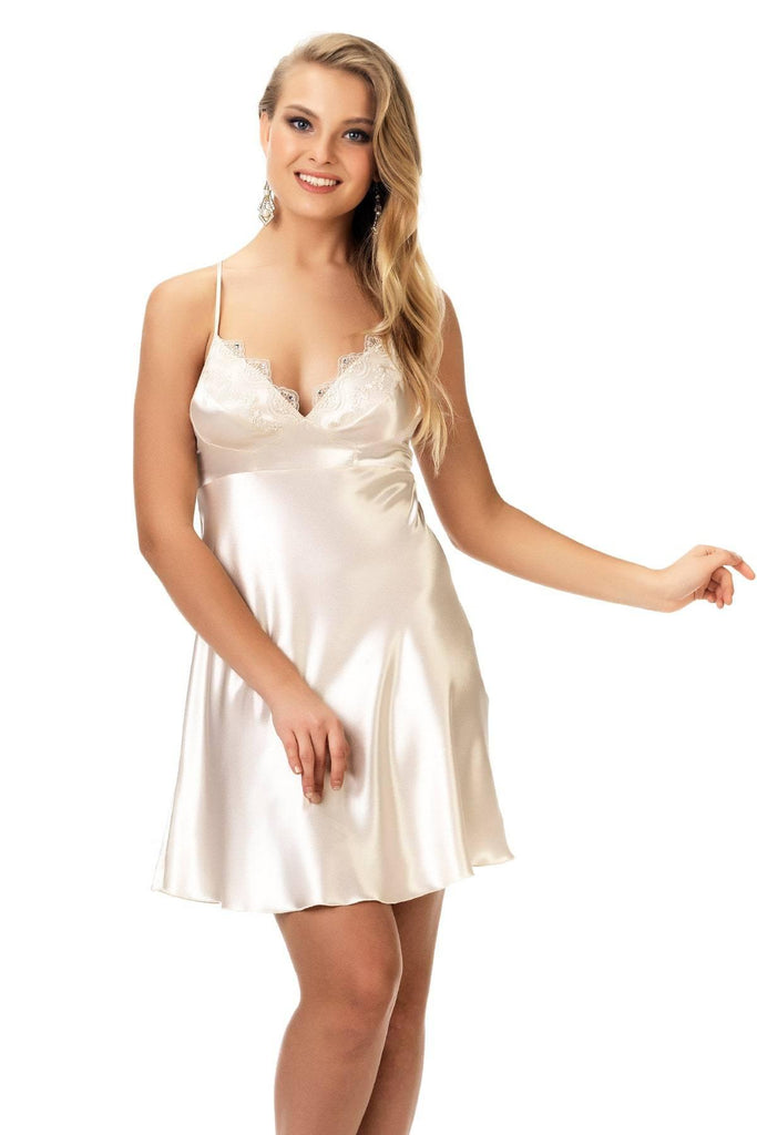 Women's Lace Detail Beige Satin Nightgown & Morning Robe Set - Colorful Wings