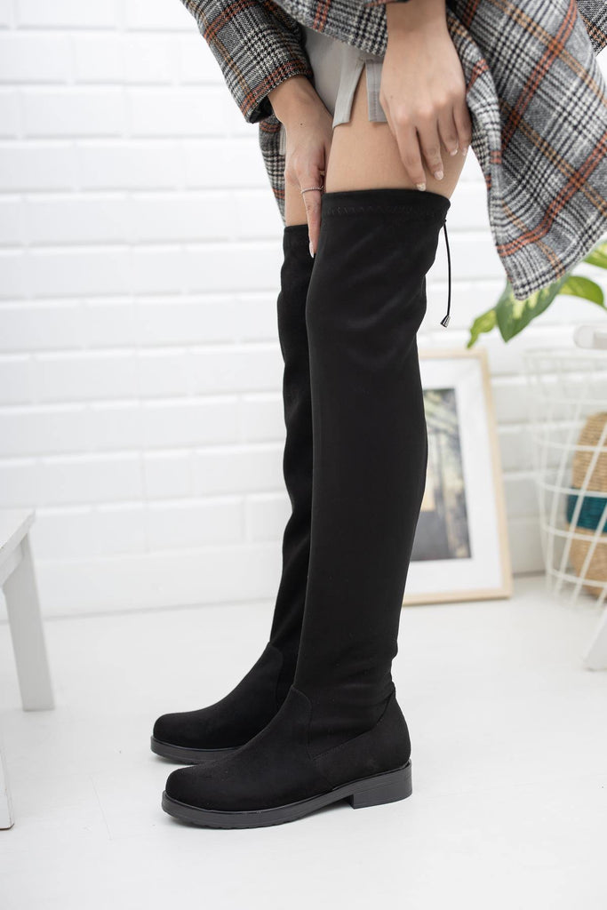 Women's Black Long Stretch Boots - Colorful Wings