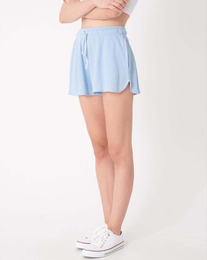 Women's Tie Waist Baby Blue Shorts - Colorful Wings