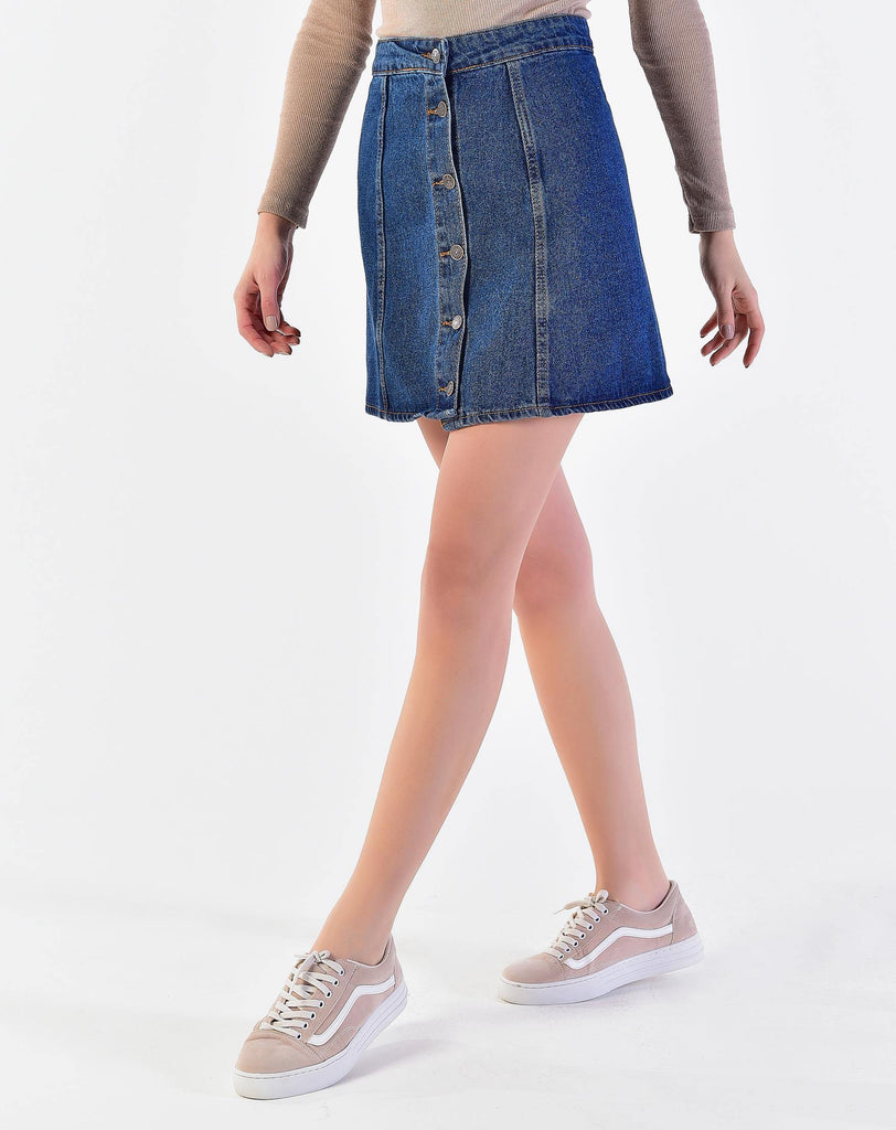 Women's Front Button Short Denim Skirt - Colorful Wings