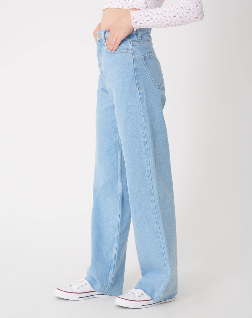 Women's Ice Blue Wide Legs Jeans - Colorful Wings
