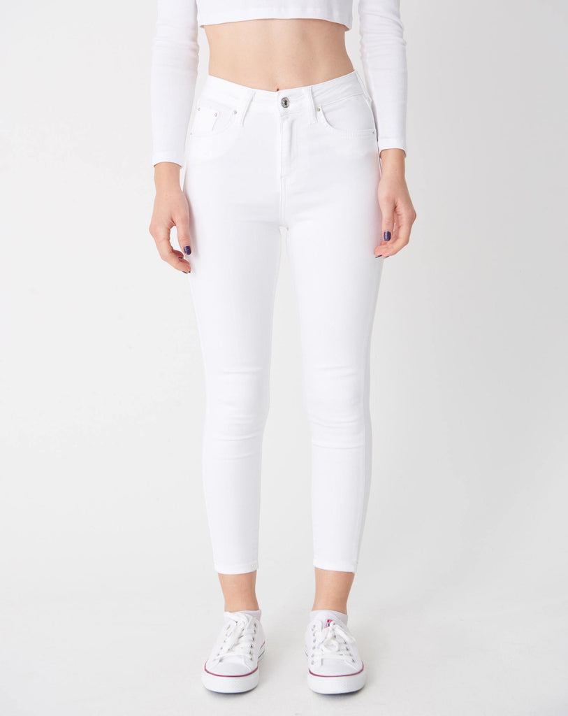 Women's Pocket White Jeans - Colorful Wings