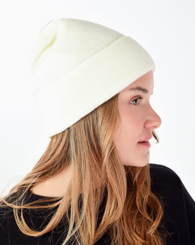Women's Basic Ecru Beanie - Colorful Wings