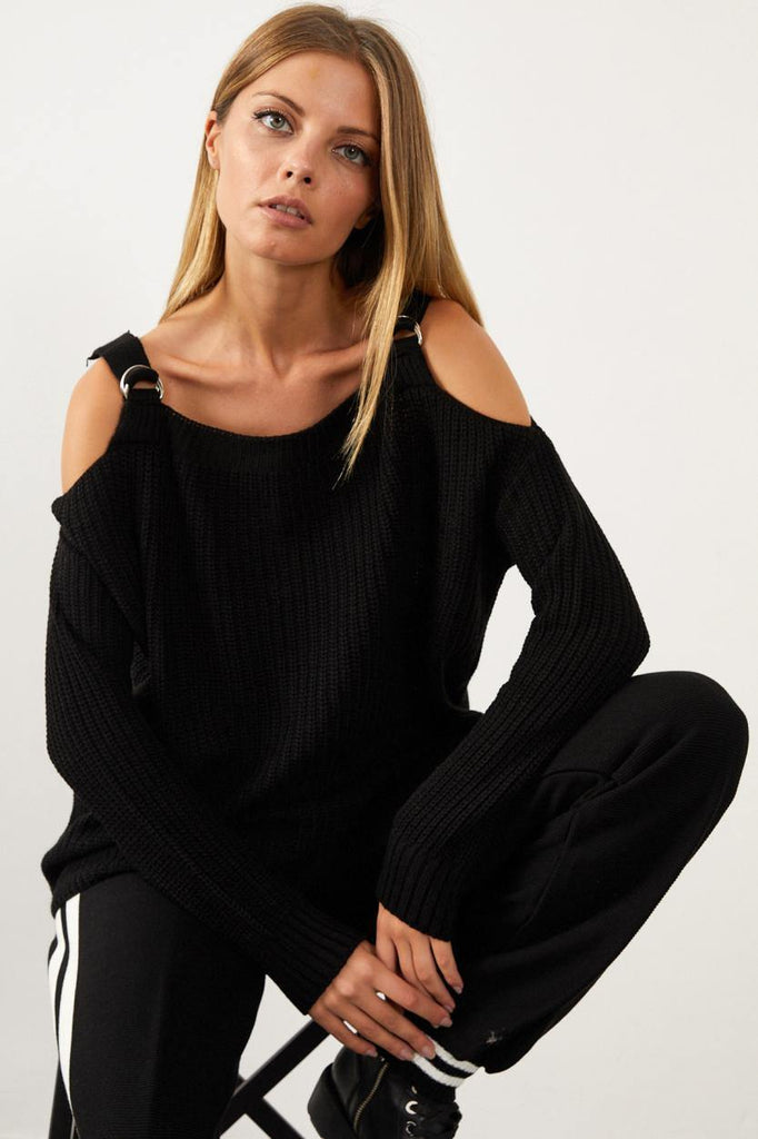 Women's Strappy Black Sweater - Colorful Wings
