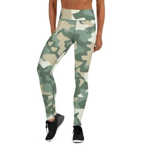 Women's High Waist Camo Print Beige Tights - Colorful Wings