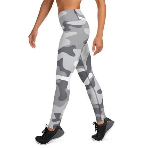 Women's High Waist Camo Print Grey Tights - Colorful Wings