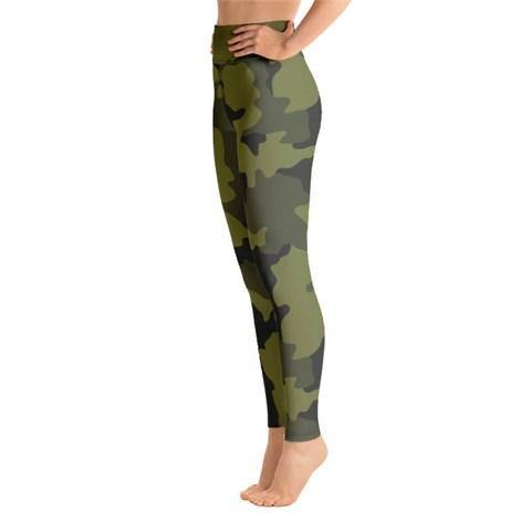 Women's High Waist Camo Print Khaki Tights - Colorful Wings