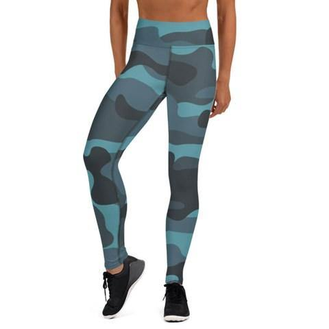 Women's High Waist Camo Print Blue Tights - Colorful Wings