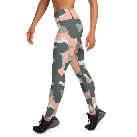 Women's High Waist Camo Print Grey- Pink Tights - Colorful Wings