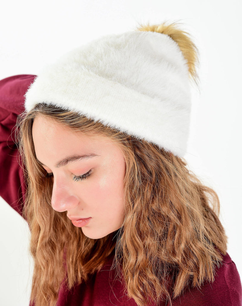 Women's Ecru Soft Texture Beanie - Colorful Wings