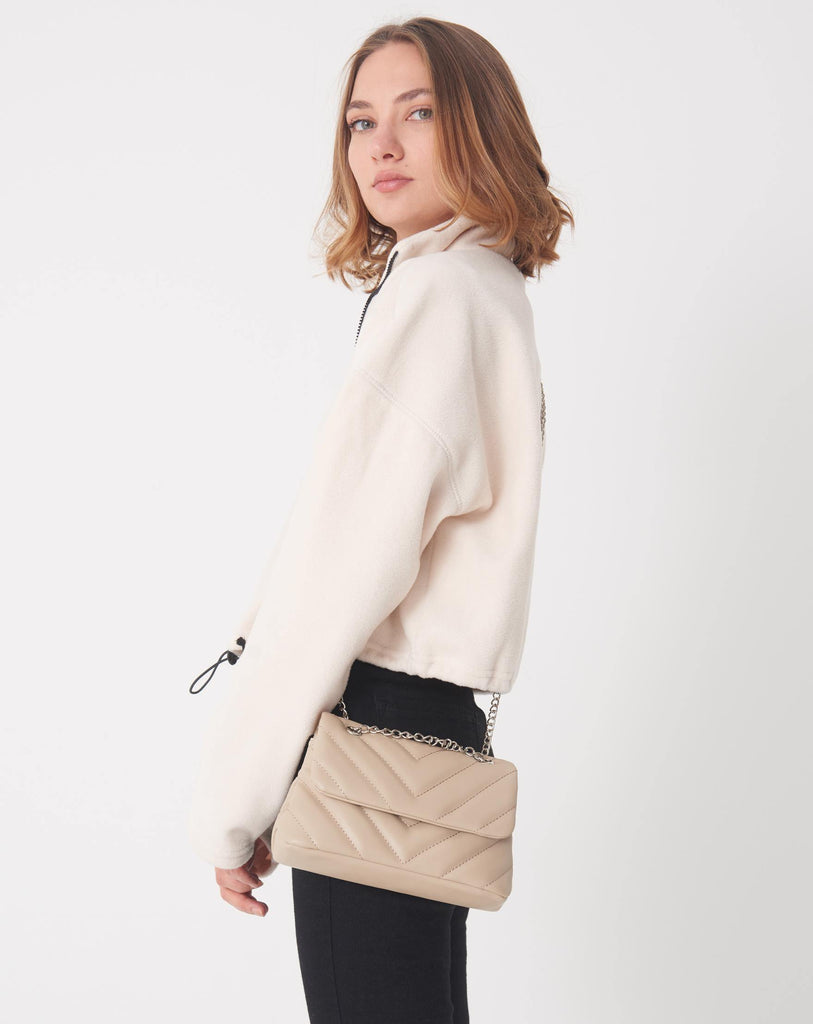 Women's Chain Strap Beige Bag - Colorful Wings