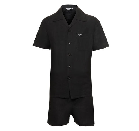 Mens Black Short Set Linen Pyjamas, Linen Flex Fabric, Gift Boxed, Comfort fit, front view