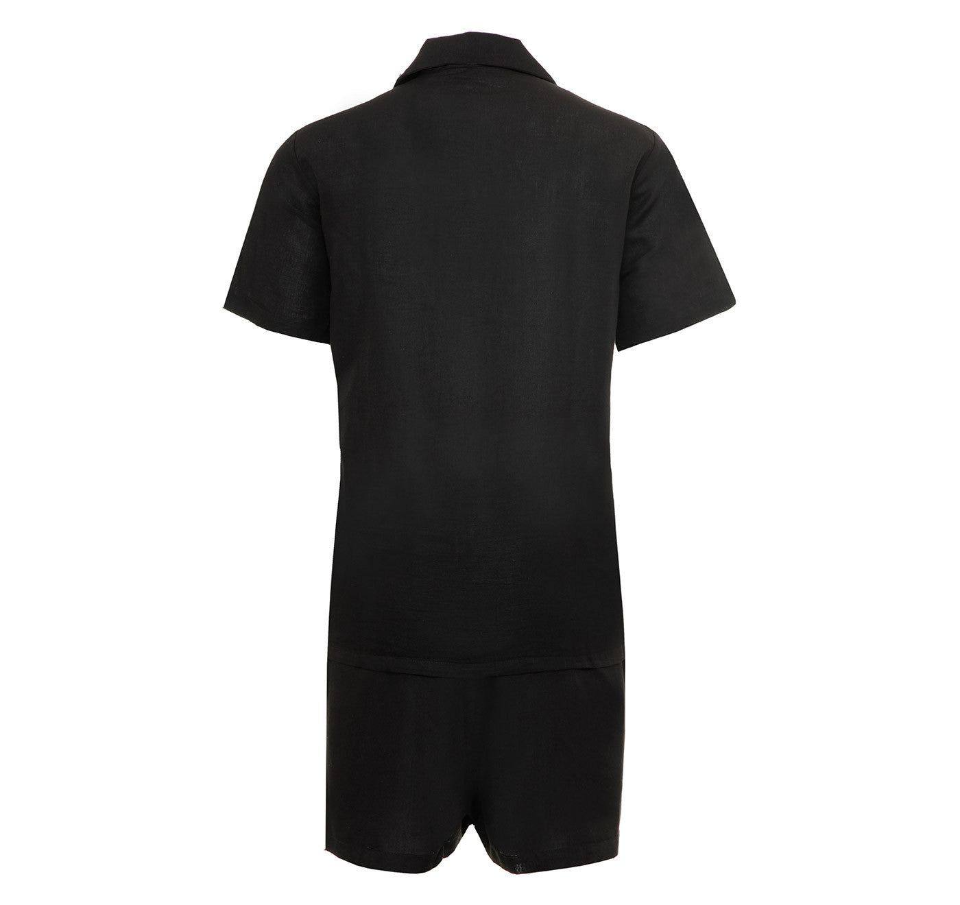 Mens Black Short Set Linen Pyjamas, Linen Flex Fabric, Comfort Fit, Gift Boxed, rear view