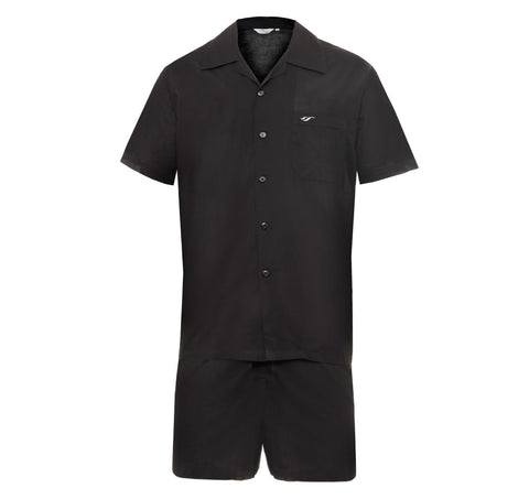 Mens Black Short Set Pyjamas lightweight batiste cotton comfort fit