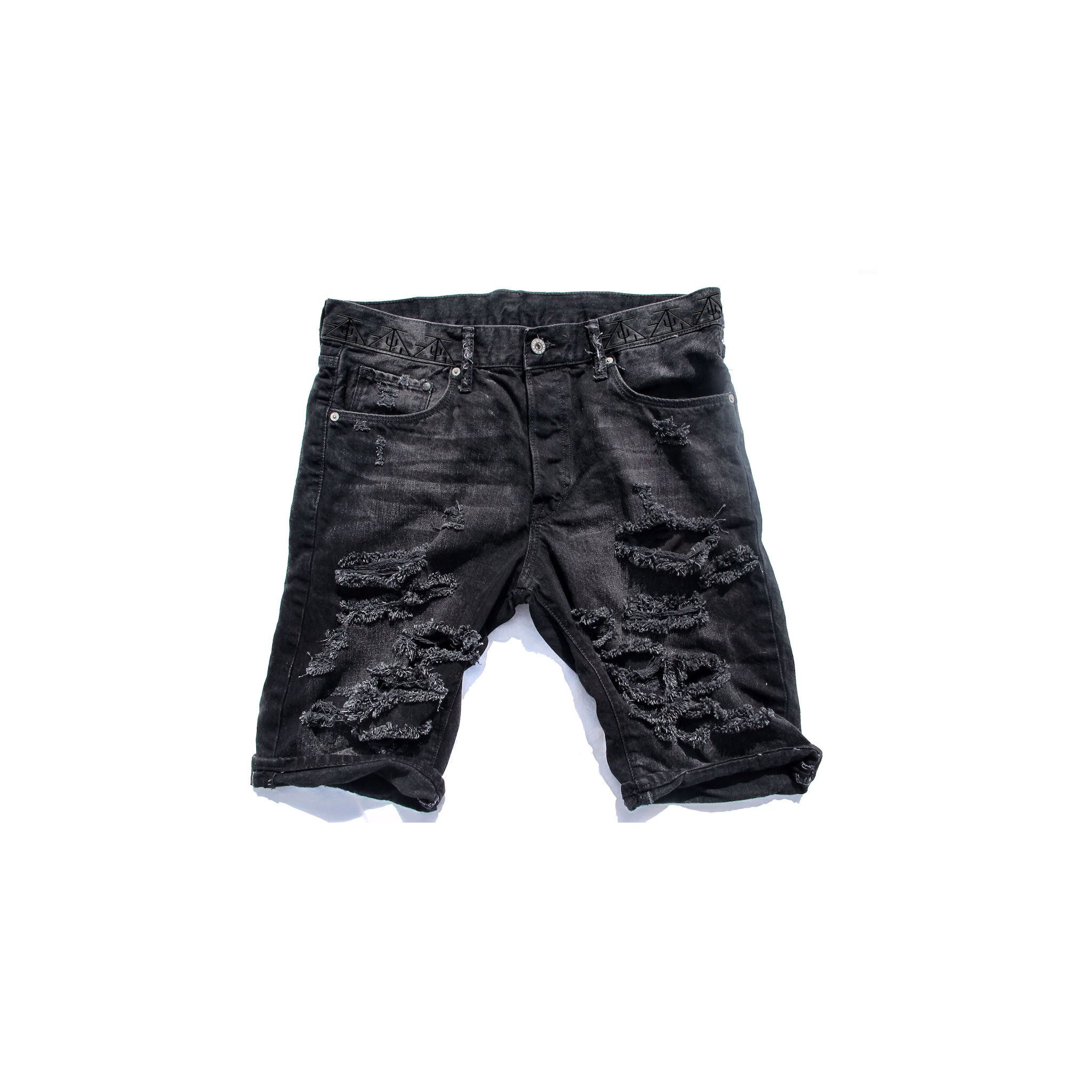 TZUL Black Detailed Distressed Denim Shorts
