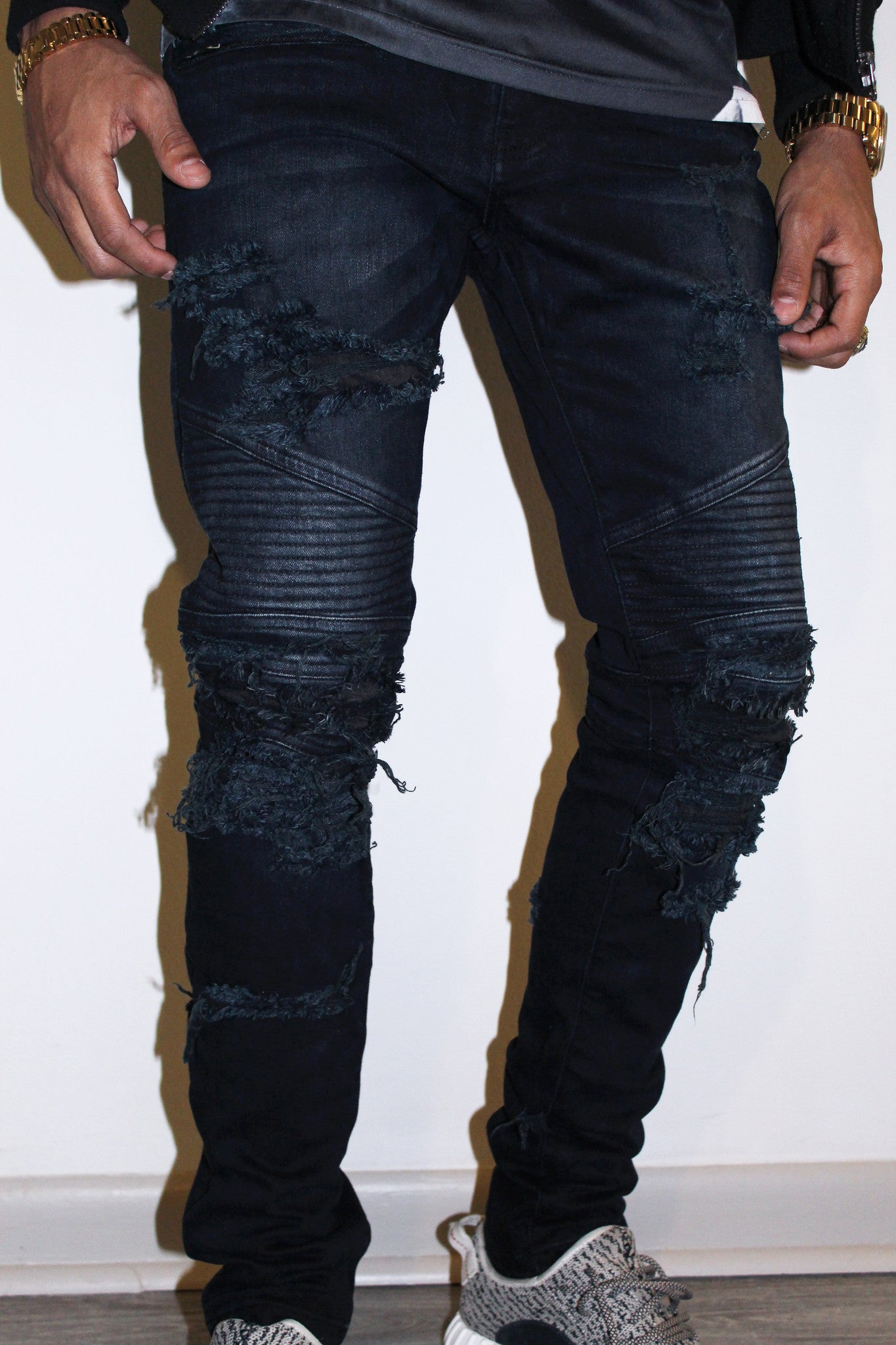 TZUL Distressed Biker Denim (Dark Blue)