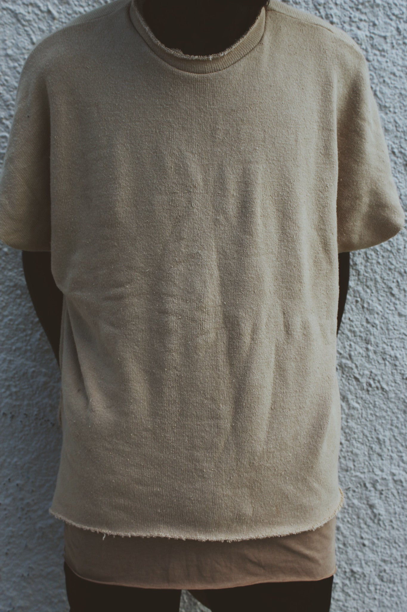 Unisex Distressed Shirt Overlay in Nude