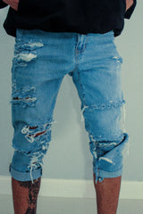 TZUL Classic Detailed Distressed Denim Shorts