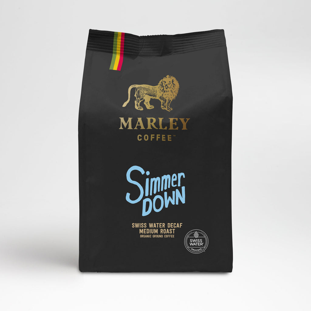 Marley Coffee Simmer Down Swiss Water Decaf Coffee, Organic Decaffeinated Coffee, from the family of Bob Marley