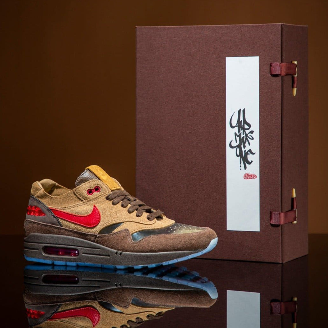 Nike Air Max 1 CLOT K.O.D 2021 Sneaker Release Temple Wear Blog News Red Traditional Logo  Swoosh Red Brown Japanese Tea Inspired Transparent Running Shoes Kiss Of Dead Sneaker Release Friends & Family Packaging