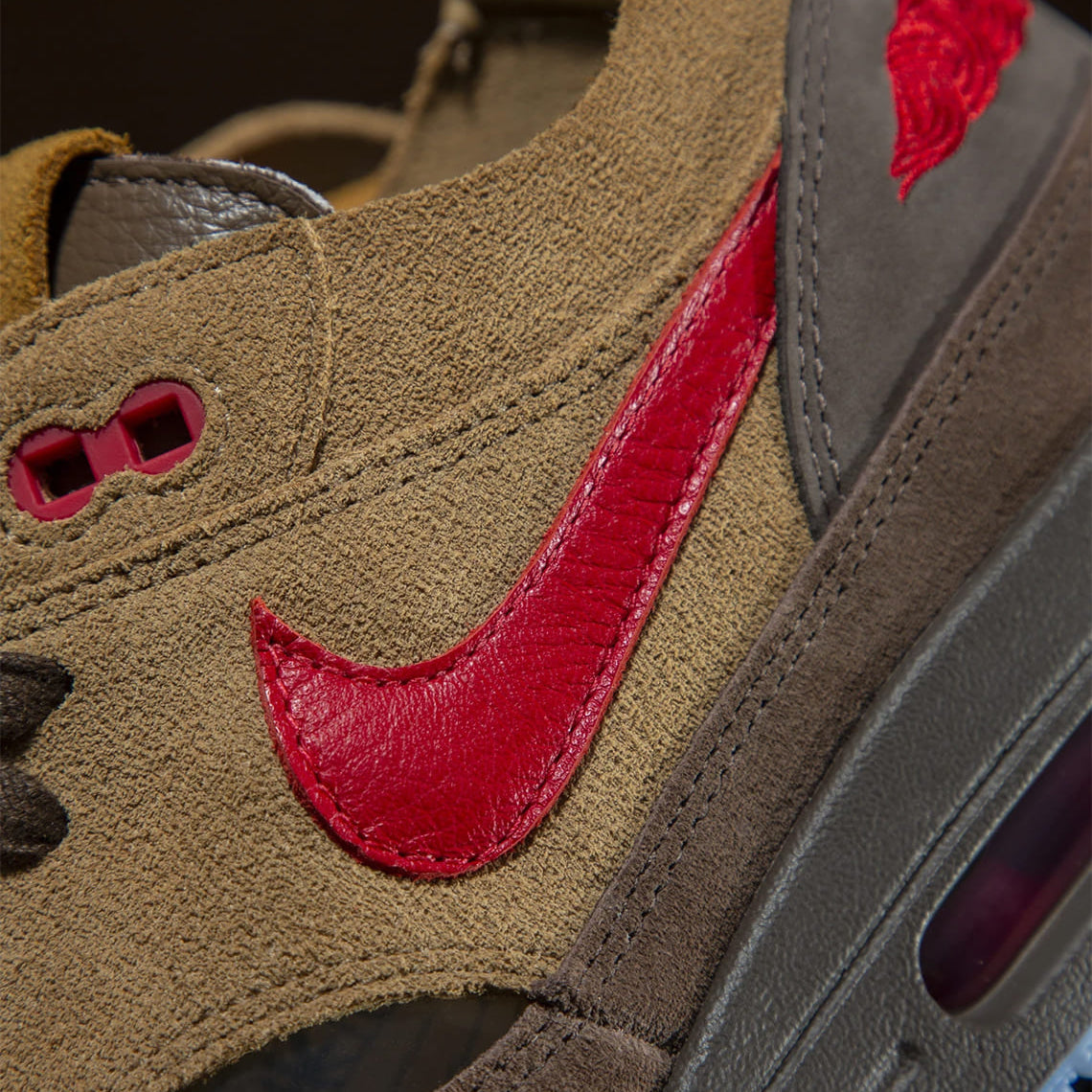 Nike Air Max 1 CLOT K.O.D 2021 Sneaker Release Temple Wear Blog News Red Traditional Logo  Swoosh Red Brown Japanese Tea Inspired Transparent Running Shoes Kiss Of Dead Sneaker Release