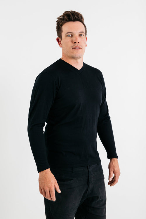 NM55 Mens Merino Knitwear: Long Sleeve V-Neck