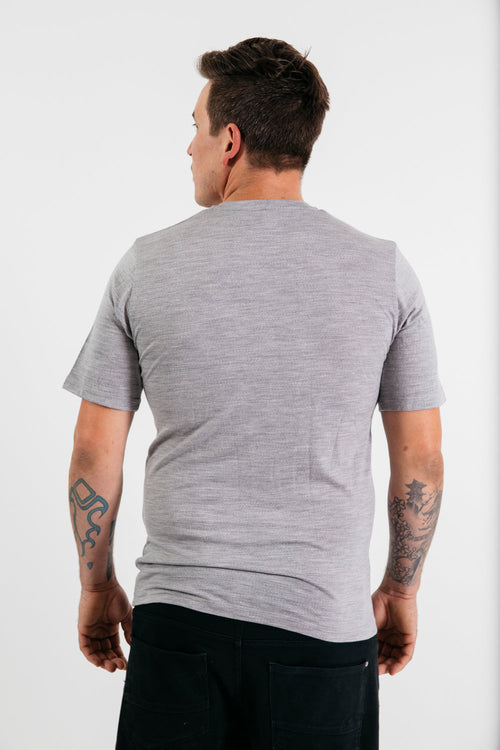 Mens Merino Knitwear: Short Sleeve Crew Neck