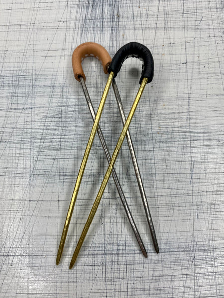 HAIR STICK - With Leather Detail 4""