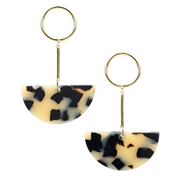 BALEEN - Lunette Earrings (Beige Tort)