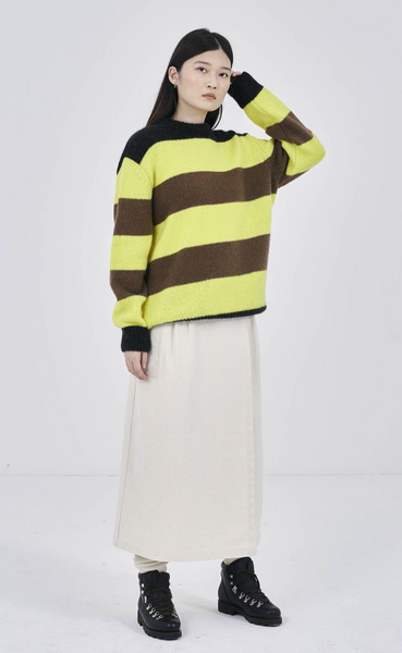 GIRLS OF DUST - G.o.D Stripe Sweater Kid Mohair Yellow