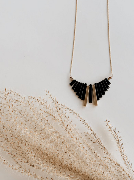OCEANNE - Fringe Necklace (Onyx)