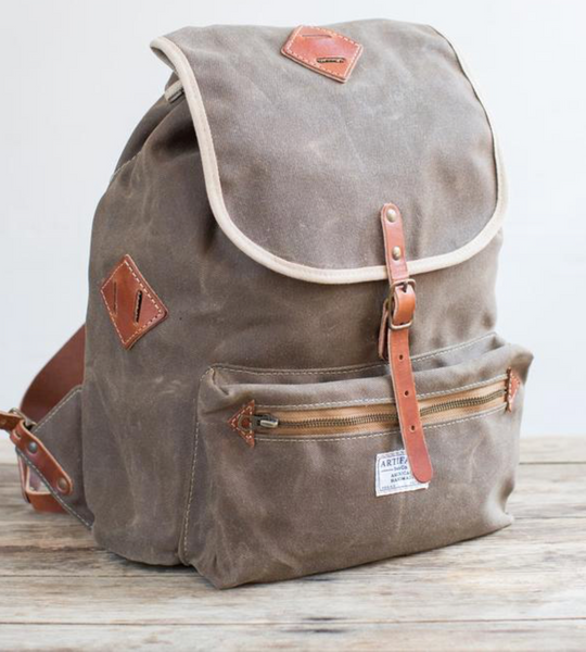 ARTIFACT - Backpack in Khaki Wax Twill w/Bourbon Leather