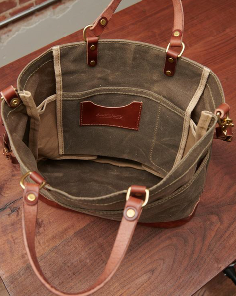 ARTIFACT - Cross Body Shoulder Bag in Khaki Wax Canvas with Bourbon Leather