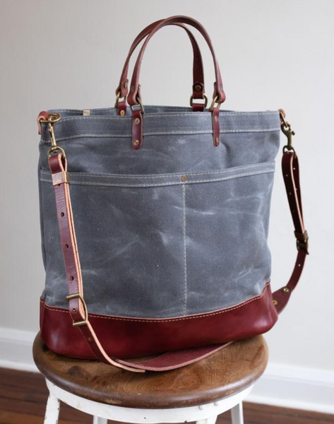 ARTIFACT - Cross Body Shoulder Bag in Slate Wax Canvas with Burgundy Leather