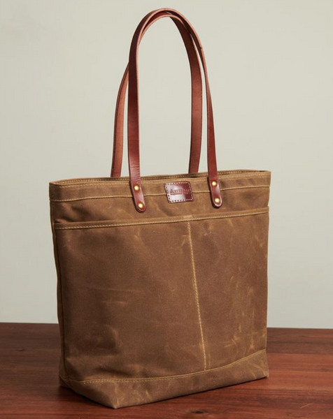 ARTIFACT - Zipper Tote in Rust Wax Canvas with Bourbon Leather (Medium)