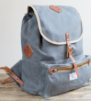 ARTIFACT - Backpack in Slate Wax Twill w/Bourbon Leather