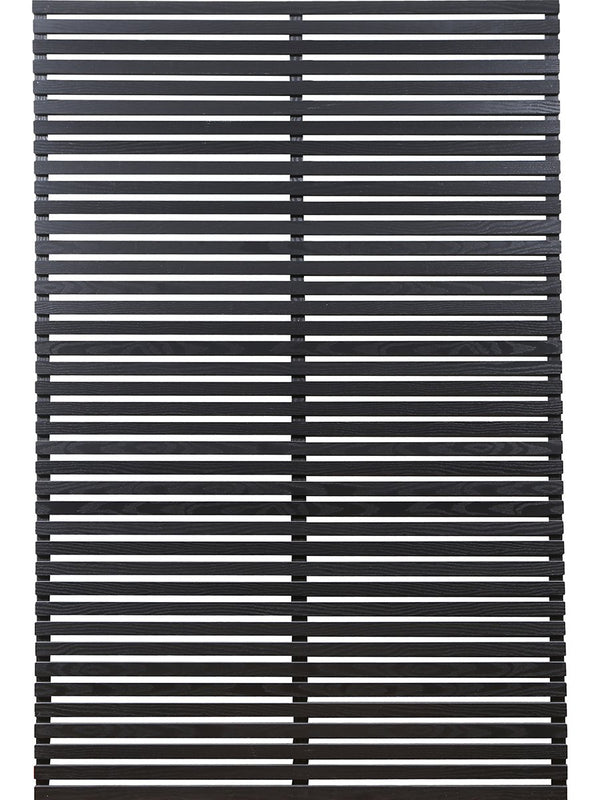 Horizontal slatted fence panels in 30mm black slats by Screen With Envy