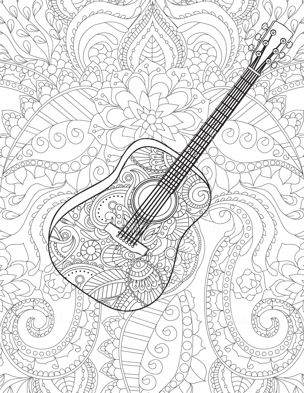 Guitar Coloring Sheet - Goin Postal Brentwood